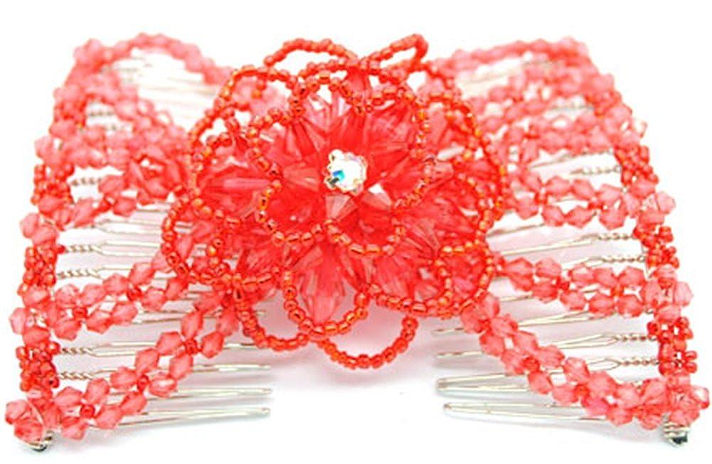 Casualfashion Amazing Women's Hand-beaded Rose Flower EZ Comb Double Clips wf-4519