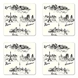 Ambesonne Travel Coaster Set of Four, Silhouettes of Different Popular Cities in World Paris Sidney Berlin London Print, Square Hardboard Gloss Coasters for Drinks, Cream Black