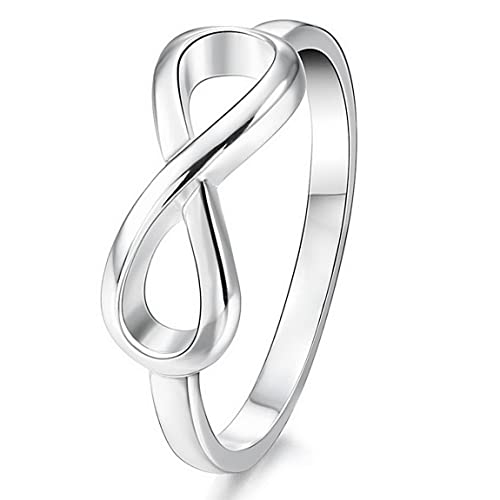 f972c235aae INBLUE Women's 925 Sterling Silver Band Ring Silver Tone Infinity Symbol  Wedding