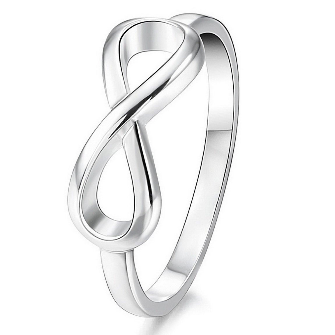 INBLUE Women's 925 Sterling Silver Ring Silver Tone Infinity Symbol Wedding Band Size9