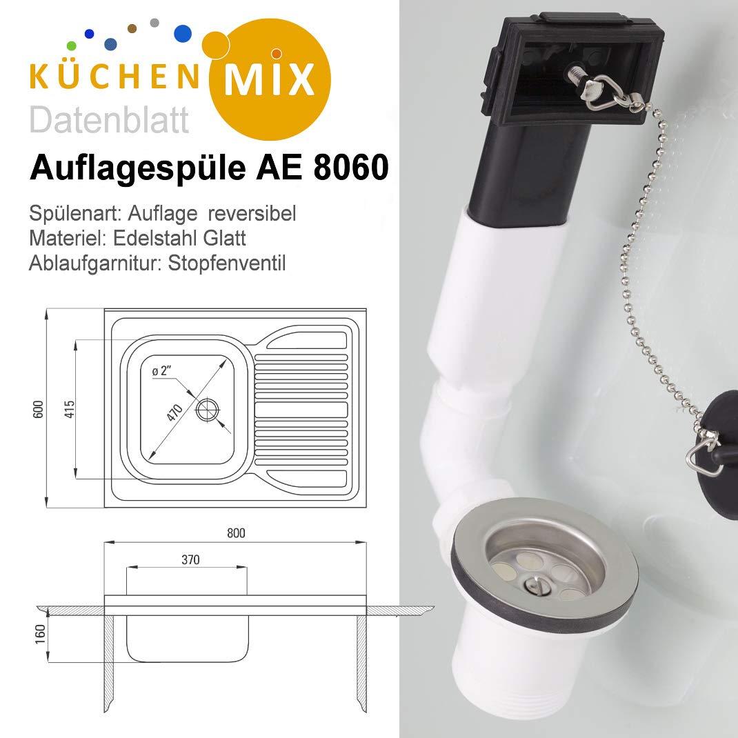 Becken links 1 Hahnloch Auflagesp/üle AE 8060 Edelstahl Aufsatzsp/üle 800 x 600 mm