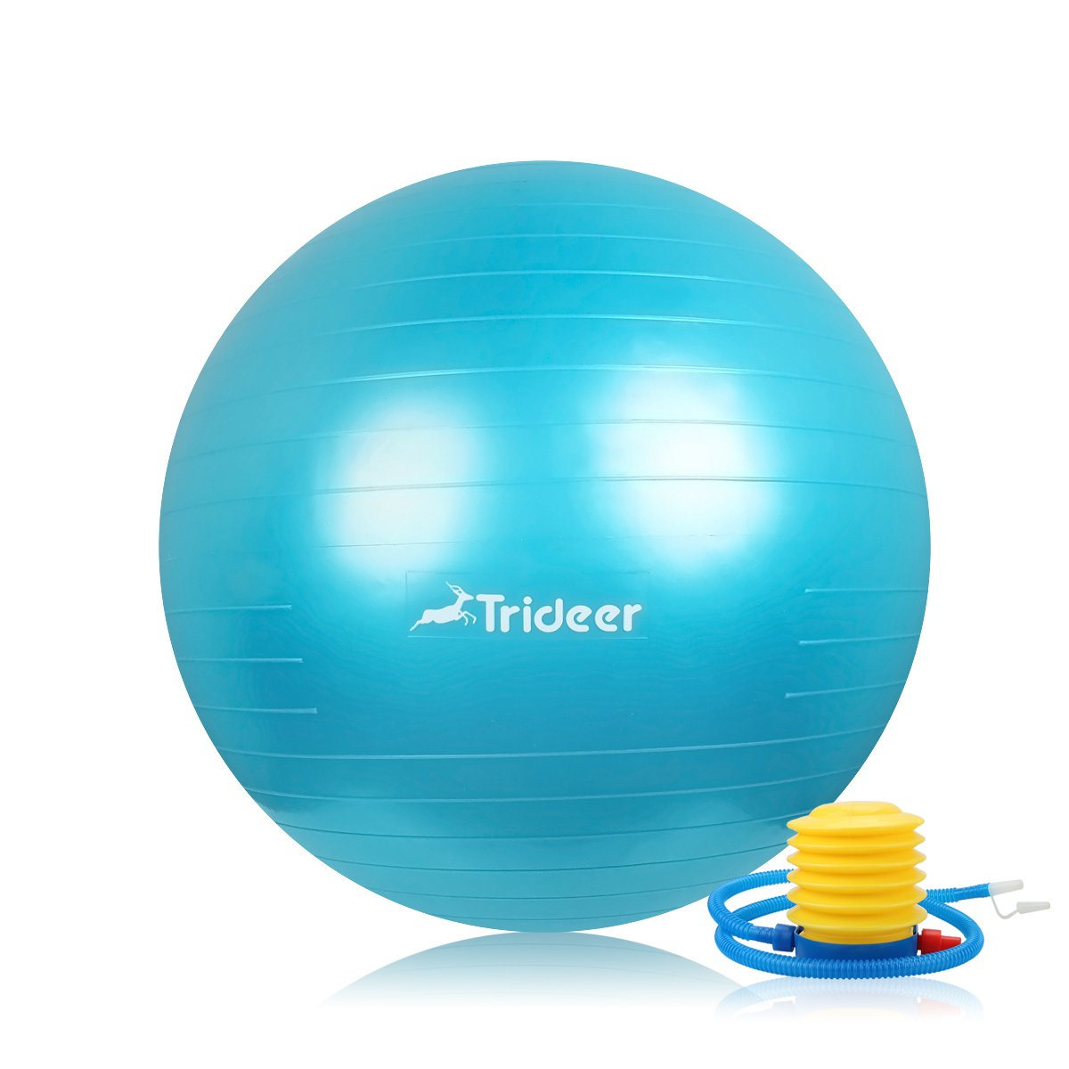 Trideer Exercise Ball (Multiple Color), Yoga Ball, Birthing Ball with Quick Pump, Anti-Burst & Extra Thick, Heavy Duty Ball Chair, Stability Ball Supports 2200lbs (Bright Turkis, M (48-55cm))