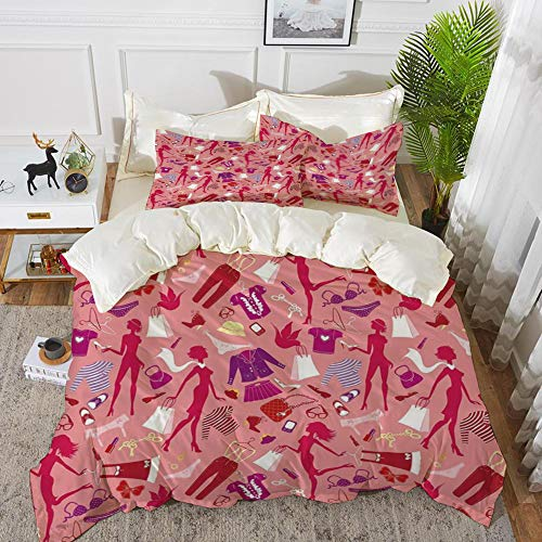 - Yaoni Bedding - Duvet Cover Set,Heels and Dresses,Girl Silhouettes Glamor Clothes Purses Underwear Pattern in Pink Tone,Hypoallergenic Microfibre Duvet Cover Set 68