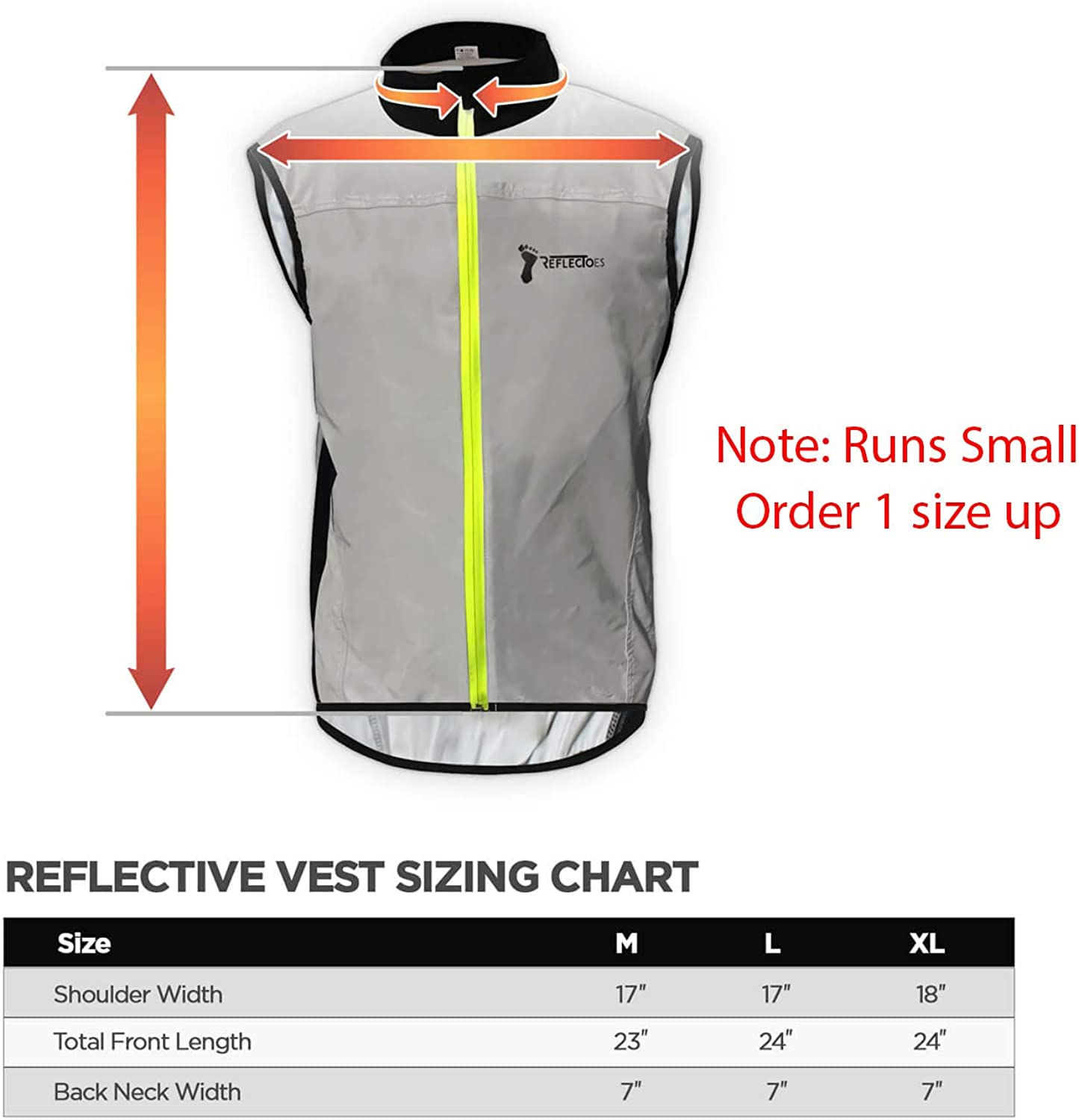 Durable Mens Jacket Designed with Intelligent Stretch Fabric and BioMotion Technology for Maximum Visibility ReflecToes Reflective Windbreaker Vest for Running and Cycling
