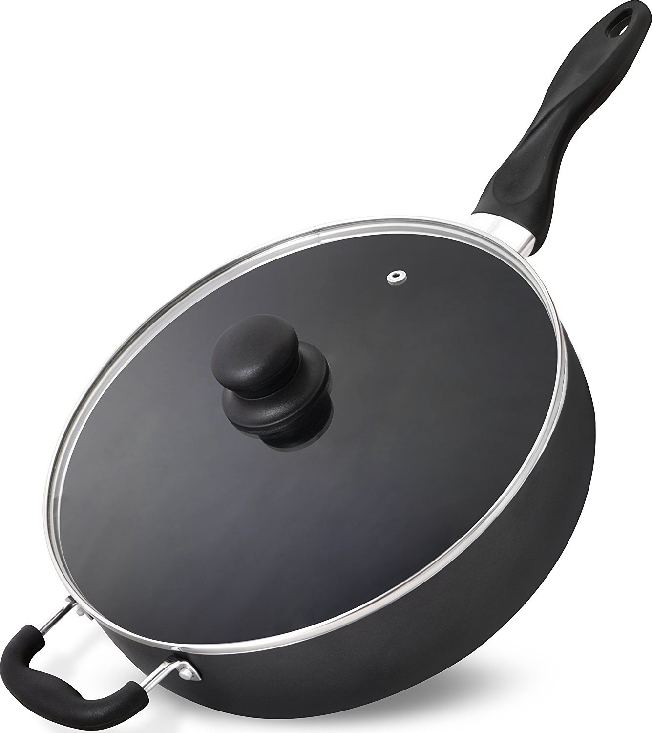 Utopia Kitchen - 11 Inch Nonstick Deep Frying Pan - 4.6 Quart Sauté Pan - Aluminum Jumbo Cooker with Glass Lid - Dishwasher Safe