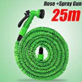 EverTrust(TM)New Functional 25m Garden Water Hose+Spray Gun Car Wash Pipe Valve Expandable Flexible US Or UK Connector 75ft Green