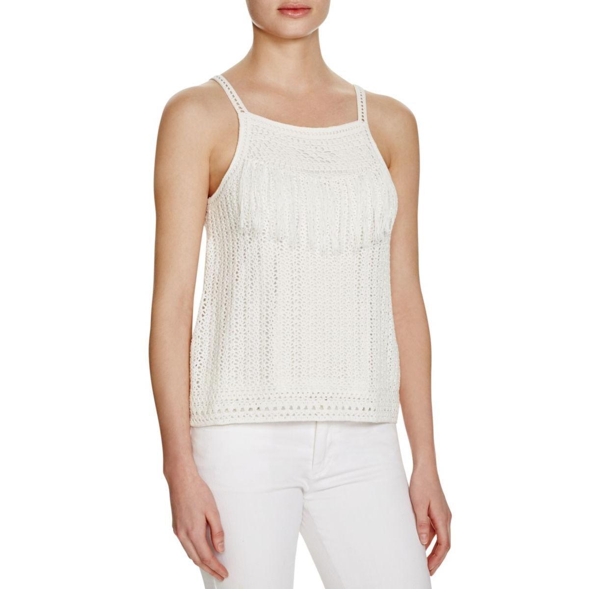 Joie Womens Olesia Crochet Fringe Casual Top White M