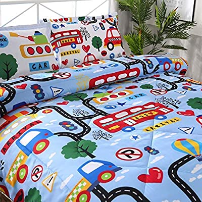 Qucover Comforter Set Blue Car Lightweight Quilt Bedding Set 3-Pieces Bed in A Bag Comforter with Pillowcases for Teen Boys Kids Twin Size: Home & Kitchen