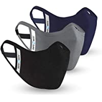 Safe+Mate x Case-Mate - Washable & Reusable Face Mask - Adult S/M - Cotton - 3 Pack - Black/Navy/Gray