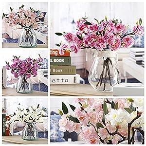 "KICODE 16"" ArtificialFake Flowers Leaf Cherry Blossoms Flowers Garden Bouquet Wedding Bouquet Party Decor 84"