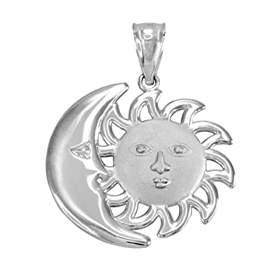 Amazon Com 14k White Gold Moon And Sun Face Celestial Charm Pendant
