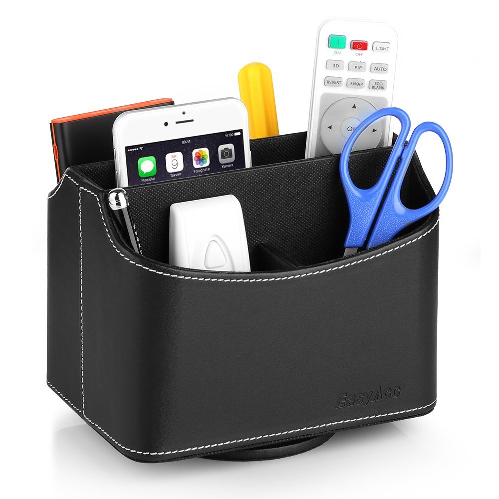 EasyAcc Desk Organizer Storage with 5 Compartments 360 Degree Remote Control Caddy Rotating Controller Holder for TV Guide, Mail, Handheld Electronic Devices & Media Desktop Organizer (Black) - Stock