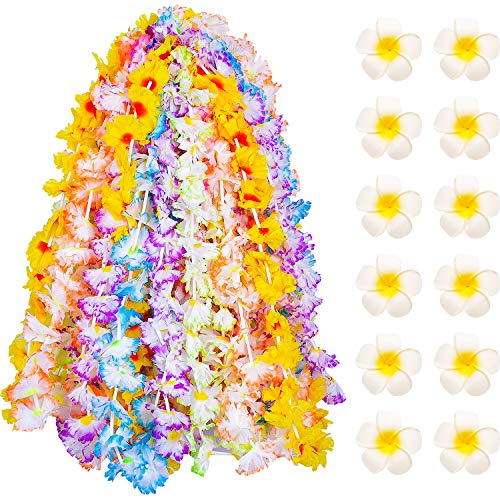 Blulu 24 Pieces Hawaiian Colorful Silk Flower Leis Jumbo Necklaces with 12 Pieces Hawaiian Flower Hair Clips for Party Supplies, Beach Party Decorations ()