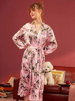 JIE Nuevo Otoño E Invierno con Seda Casera, Sexy, Larga Bata Francesa, Pijama