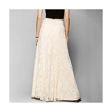 0ebd98d87fe5 Amazon.com: Long lace Skirt Summer Beach Wedding Skirt Retro Wedding Look  Pleated Tulle Skirts Female School Maxi Skirt: Kitchen & Dining