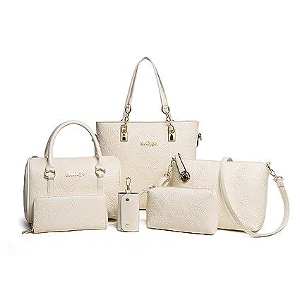 07324512aa Tisdaini Sac à main en main à la main pour femme Sac à main 6 pièces + sac  à bandoulière + sac messager + portefeuille: Amazon.fr: Bagages