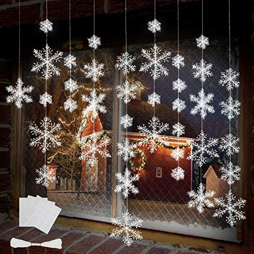(BTNOW 63 Pieces 4 Sizes White Christmas Snowflake Decorations Snowflake Ornaments Garland, 8 Meters White Strings and 60 Pieces Round Double Side Tape for Home Christmas Holiday Party)