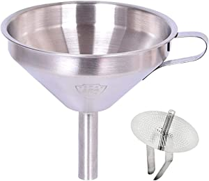 Funnel 5-Inch Food Grade Stainless Steel Kitchen Funnel with Strainer Filter for Transferring of Liquid Dry Ingredients and Metal Cooking Funnel(Silver)