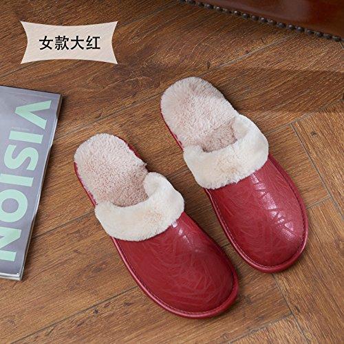 Fankou autunno e inverno pelle PU pantofole indoor femmina non-slip caldo fondo spesso home giovane pavimento impermeabile cotone pantofole inverno maschio, 38/39 (per 37-38 piedi), rosso