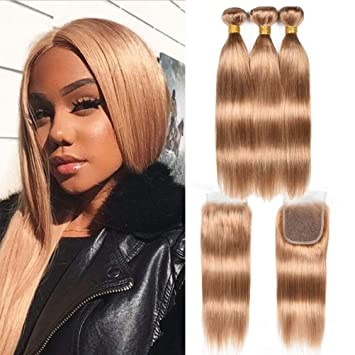 Human Hair Weaves 2019 Latest Design March Queen Brazilian Hair Straight 3 Bundles With Closure #27 Honey Blonde Color Hair Human Hair Weave With 4*4 Lace Closure Ideal Gift For All Occasions 3/4 Bundles With Closure
