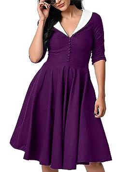 Mena UK Mujer de estilo vintage de cuello redondo Retor Wiggle vestido (Color : Purple