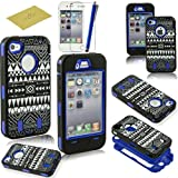 Fulland Deluxe Laser Printed Hard Soft High Impact Hybrid Armor Defender Case Combo for Apple iPhone 4 4S with 1 Screen Protector + 1 Stylus Pen -Tribal Blue