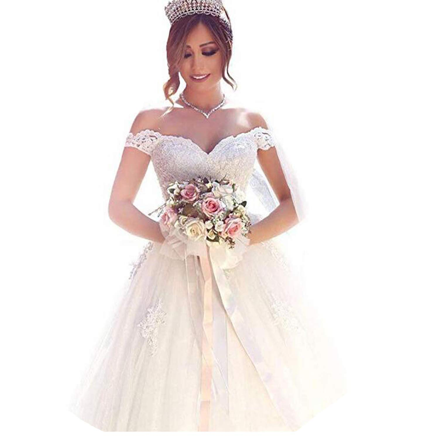 5ccc2ee7b Yuxin Elegant Sweetheart Lace Ball Gown Wedding Dresses 2018 Off Shoulder  Princess Bridal Gowns at Amazon Women's Clothing store: