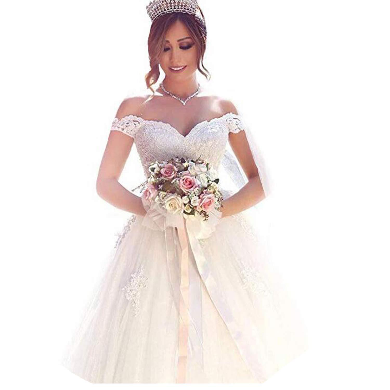 Off Shoulder Wedding Dress.Yuxin Elegant Sweetheart Lace Ball Gown Wedding Dresses 2018 Off Shoulder Princess Bridal Gowns