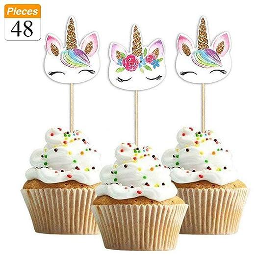 Paquete de 48 púas de unicornio arcoíris para decoración de ...