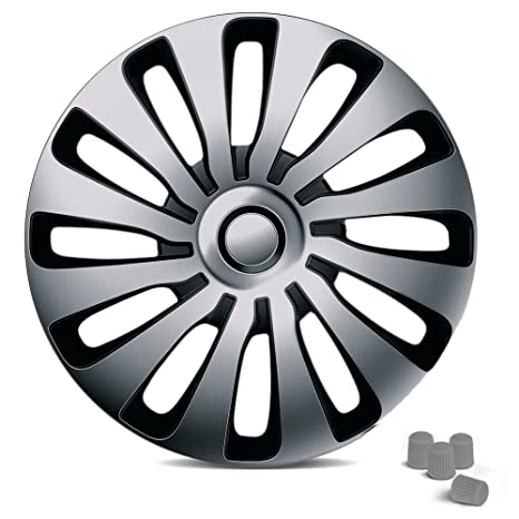 Universal Tapacubos Sepang apto para casi todos los vehículos Incluye 4 tapas de válvula plata.