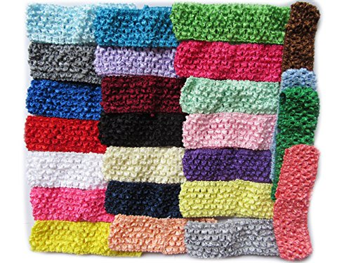 50 Pcs Elastic Crochet Headbands for Newborn Infant Toddler Baby Girls Skinny Hair Bands -