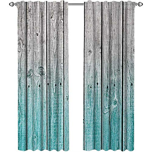 Rustic, Curtains and Valances, Wood Panels Background with Digital Tones Effect Country House Art Image, Curtains for Boys Room, W96 x L96 Inch, Light Blue and Grey ()