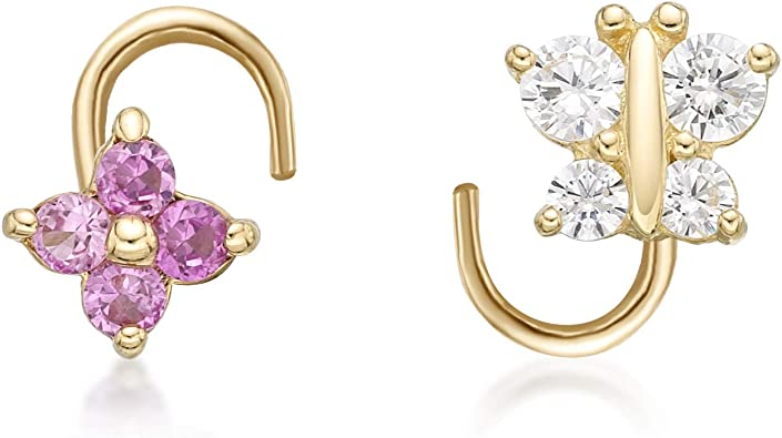 14k yellow gold nostril screw with ruby and cz flower and leaf dangle