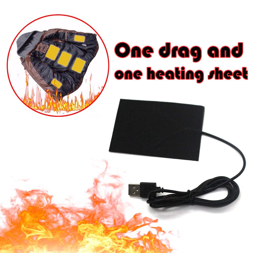One Tow 1 Heating Piece, Electric Heating Pads Thermal Clothes Heated Jacket Outdoor Mobile Warming Gear
