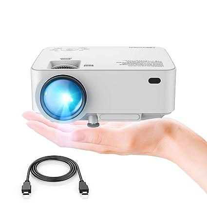 DBPOWER Mini proyector, 2200 Lumen Proyector LED de Video HD 1080P con Pantalla de 176
