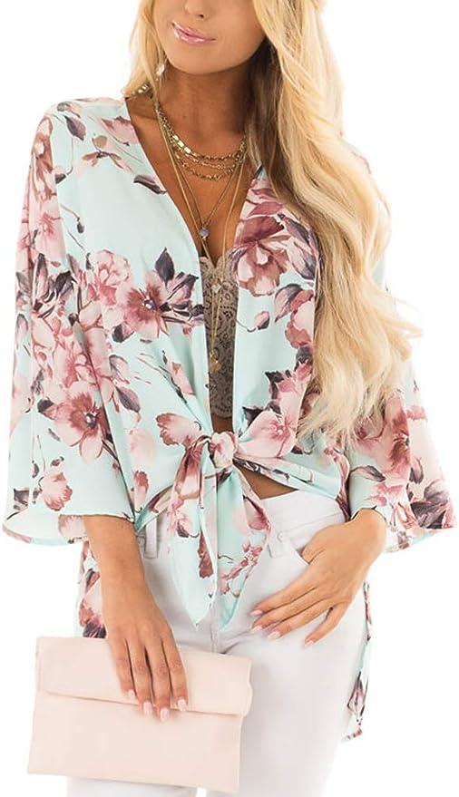 Bust:124CM//48.8, Black Women Cardigan Chiffon Kimono Print Tops Blouse Ladies//Girls Shawl Sunscreen Cover up Anti Mosquito Sunscreen Thin Smock