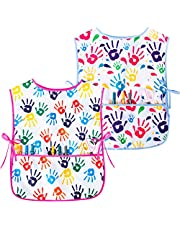 Fiodrimy 2 Pack Kids Art Smock Waterproof Artist Painting Aprons with Pockets, 2-7 Years