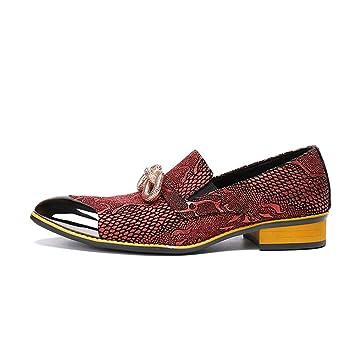 CAI Mocasines para Hombres Primavera/Otoño / Invierno Acentuados/Zapatos de Cuero Confortables/Trend / Rojo/Transpirable / Estilismo/Zapatos de Vestir de ...
