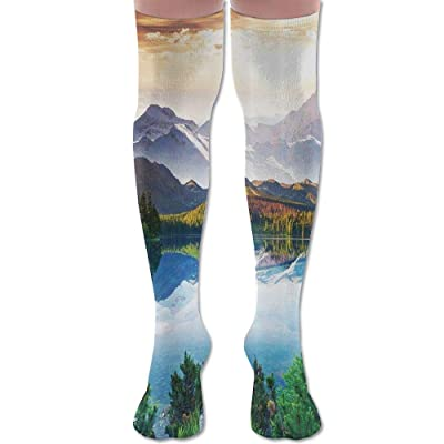 ruishandianqi Calcetines Altos New Mountain Lake View Sunny Day Nature Fashion Stylish Comfortable Knee High Socks Long Socks for Women and Men: Deportes y aire libre