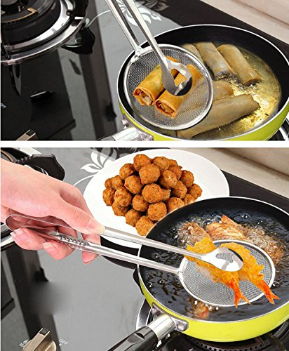 Strainer Multi-Functional Filter Spoon with Clip Food Kitchen Oil-Frying Salad BBQ Filter (Silver, 28 10 cm) by FORESTIME (Image #3)