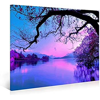 Good Nuolanart PURPLE MORNING Modern Landscape Canvas Print Wall Art   Framed  Ready To Hang Wall