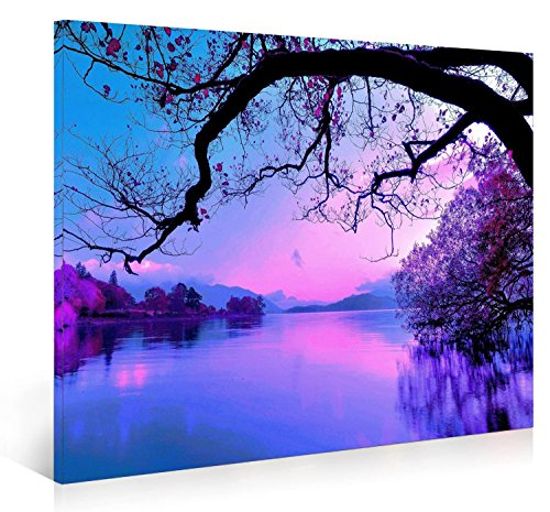 Nuolanart-PURPLE MORNING Modern Landscape Canvas Print Wall Art - Framed Ready to Hang Wall Decor - Home Gifts -P1L4060-003 (Purple Black Print Art)