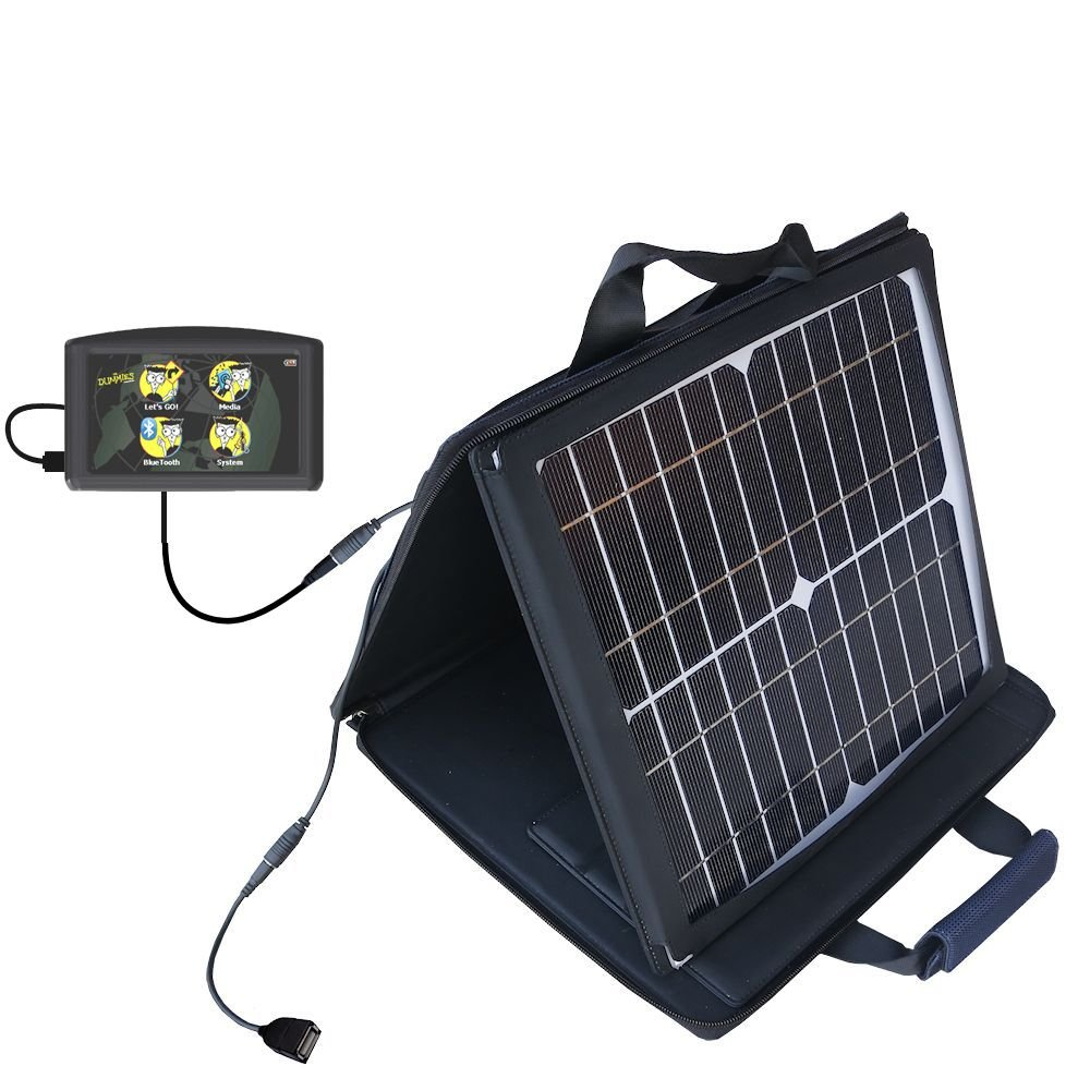 Maylong FD-435 GPS For Dummies compatible SunVolt Portable High Power Solar Charger by Gomadic - Outlet- speed charge for multiple gadgets by Gomadic