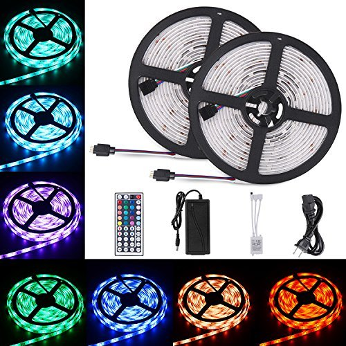 Sunnest 2 Reels 12V 32.8ft Waterproof Flexible LED Strip Light Kit, Led Ribbon, Color Changing SMD5050 RGB 300 LEDs Light Strips with Remote Controller for Kitchen, Bedroom, Bar, Party, TV Backlight