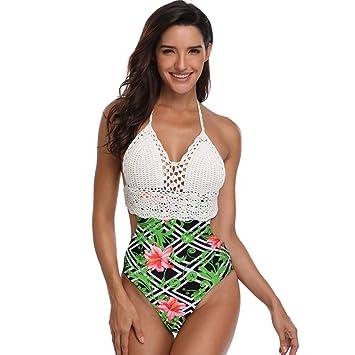 c0af479c7d5db Women Halter Monokini Bikini, Leadmall Sexy Floral Print Knit One Piece  Swimsuit With High Cut