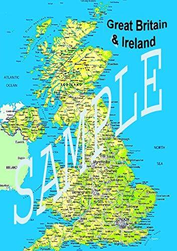 Enorme laminada Irlanda mapa político Póster de Reino Unido y nueva GB Isles carretera planificador de rutas Atlas 36 x 24 pulgadas: Amazon.es: Oficina y papelería