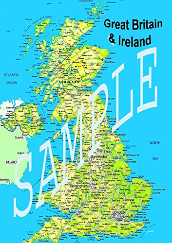 Political Map Of Uk.Huge Laminated Uk British Ireland Political Map Poster New Gb