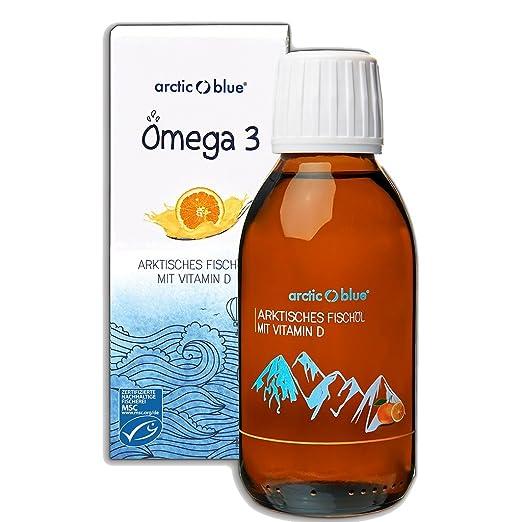 Arctic Blue® MSC Omega 3 Fischöl Fettsäuren mit Orangengeschmack mit Vitamin D - 1000mg Omega-3 pro Teelöffel- hochdosiert DHA & EPA | Jetzt online kaufen (250ml)