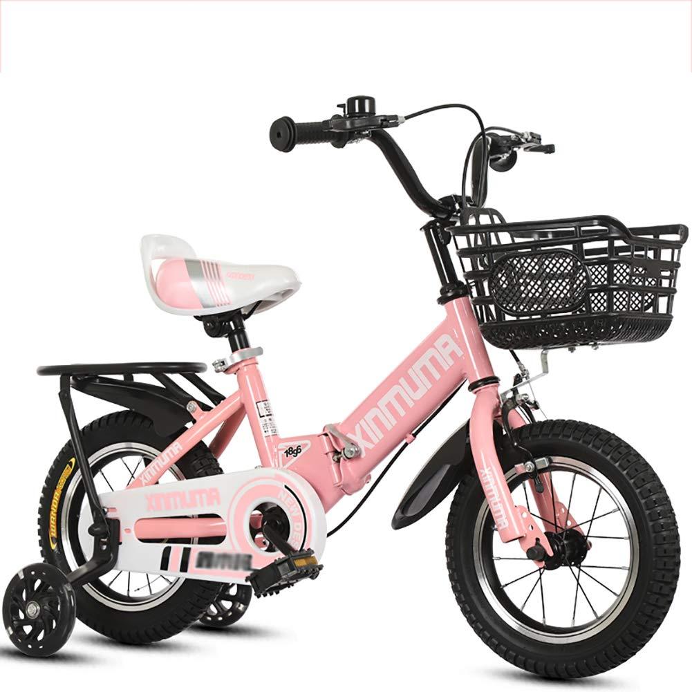 BAICHEN Biciclette per Bambini,Bicicletta Pieghevole per Bambini con la Ruota di addestramento 14 12 16 18 Pollici,Adatto a Bambini di età Compresa tra 2 e 12 Anni,rosa,16inches