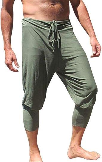 Pantalones De Harén 3/4 De Los Hombres La Raya Aptitud Cordón ...